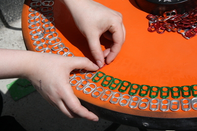 How to make a recycled table. Upcycle An Old Table With Pull Tabs  - Step 4