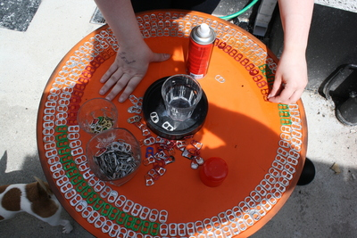 How to make a recycled table. Upcycle An Old Table With Pull Tabs  - Step 5
