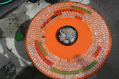 How to make a recycled table. Upcycle An Old Table With Pull Tabs  - Step 6
