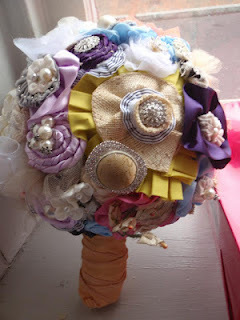 How to make a bouquet. Ribbon Bridal Bouquet - Step 10