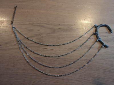 How to make a chain earring. Chained Ear Cuff - Step 12