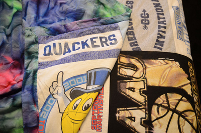How to make a patchwork quilt. T Shirt Quilt - Step 2