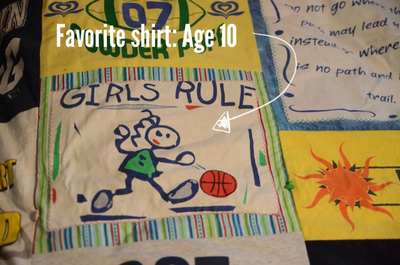 How to make a patchwork quilt. T Shirt Quilt - Step 4