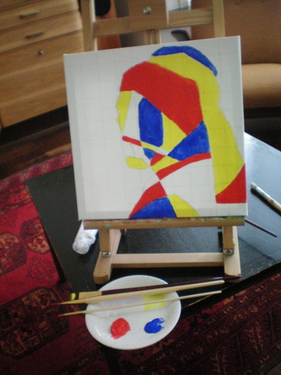 How to create a drawing or painting. Abstract De Stijl Portrait - Step 7