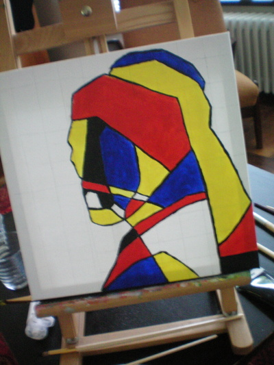 How to create a drawing or painting. Abstract De Stijl Portrait - Step 8