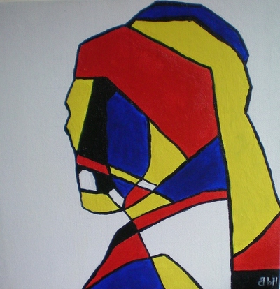 How to create a drawing or painting. Abstract De Stijl Portrait - Step 9