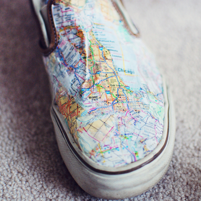 How to make a pair of decoupage shoes. Map Shoes - Step 4