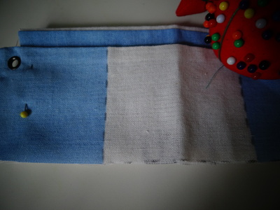 How to make a recycled pouch. Toms Flag Into Wallet - Step 7