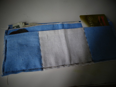 How to make a recycled pouch. Toms Flag Into Wallet - Step 9