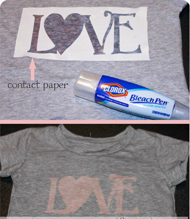 How to make a decorated top. Bleach Pen 'Love' T Shirts - Step 3