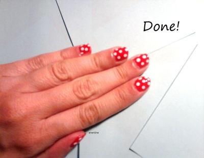 How to paint patterned nail art. Polka Dot Nails - Step 5
