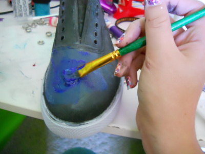 How to paint a pair of patterned shoes. Galaxy Shoes - Step 2