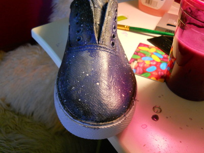 How to paint a pair of patterned shoes. Galaxy Shoes - Step 4