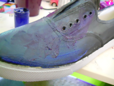 How to paint a pair of patterned shoes. Galaxy Shoes - Step 3