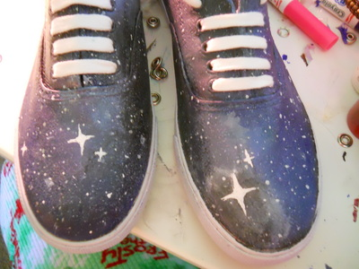 How to paint a pair of patterned shoes. Galaxy Shoes - Step 7