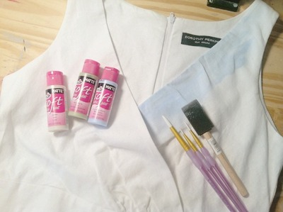 How to decorate a painted dress. Landscape Dress - Step 1