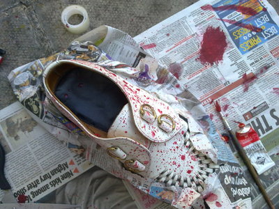 How to paint a pair of paint splatter shoes. Blood Splatter Creepers - Step 3