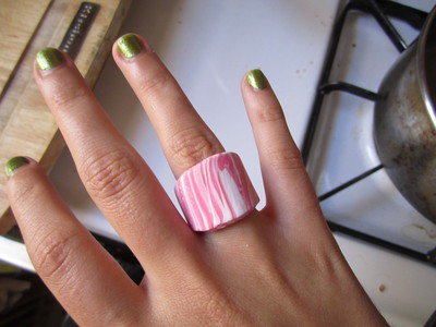 How to make a clay ring. Marbled Polymer Clay Ring - Step 32