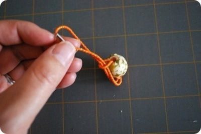 How to make a bobble / tie. Fabric Decoupaged Bead Hair Bobbles - Step 7