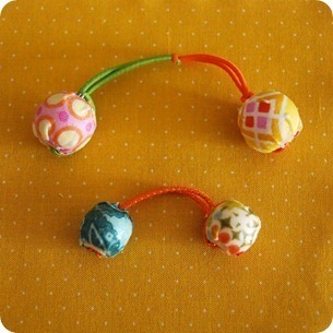 How to make a bobble / tie. Fabric Decoupaged Bead Hair Bobbles - Step 12
