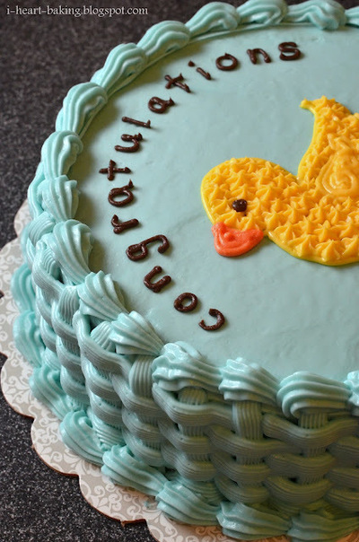 How to decorate an animal cake. Duckie Baby Shower Cake - Step 8