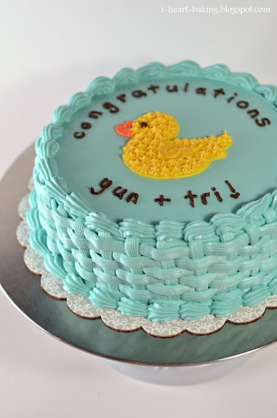 How to decorate an animal cake. Duckie Baby Shower Cake - Step 9