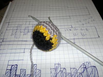 How to stitch a knit or crochet keyring. Batman Bat Keyring - Step 2