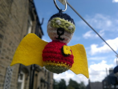 How to stitch a knit or crochet keyring. Robin The Bat Wonder - Step 6