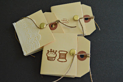 How to make a recycled book. Hang Tag Notebooks - Step 1