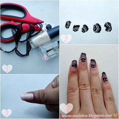 How to paint braided nail art. Lace Nails  - Step 1