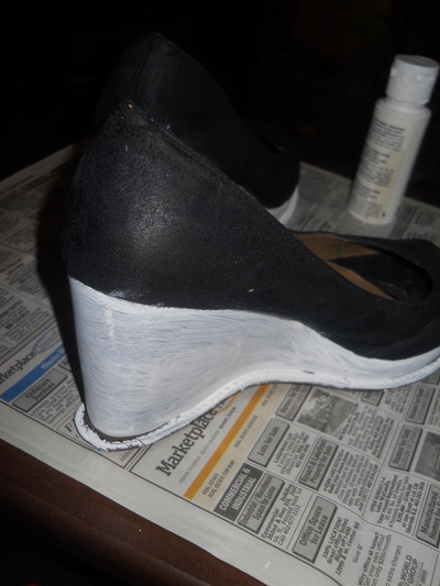 How to paint a pair of painted shoes. Cinderella Wedges - Step 2