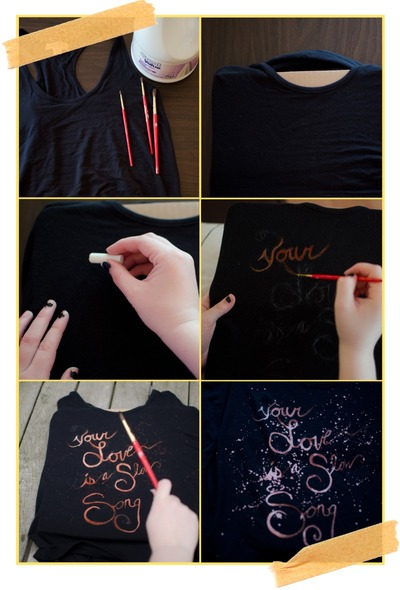 How to make a decorated top. Bleach Dye Tank Top - Step 1