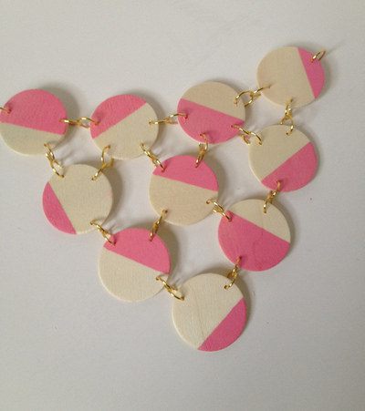 How to make a wooden necklace. Pink + Wood Bib Statement Necklace - Step 7