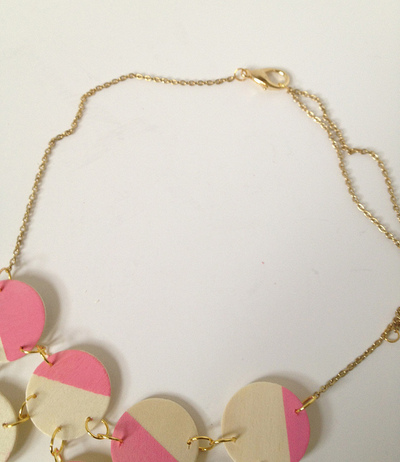 How to make a wooden necklace. Pink + Wood Bib Statement Necklace - Step 8