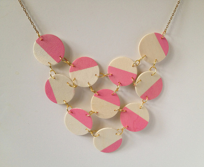 How to make a wooden necklace. Pink + Wood Bib Statement Necklace - Step 9