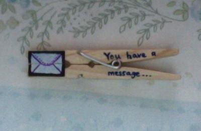 How to make a recycled card. Clothespin Message - Step 6