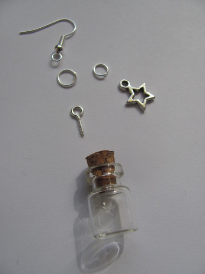 How to make a pair of vial earrings. Tiny Bottle 'Stardust' Earrings - Step 1