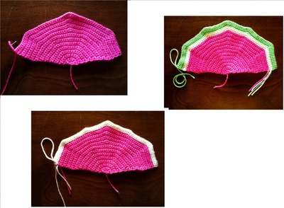 How to stitch a knit or crochet pouch. Watermelon Coin Purse - Step 1