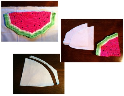 How to stitch a knit or crochet pouch. Watermelon Coin Purse - Step 3