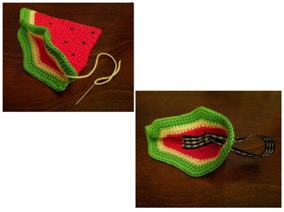 How to stitch a knit or crochet pouch. Watermelon Coin Purse - Step 5