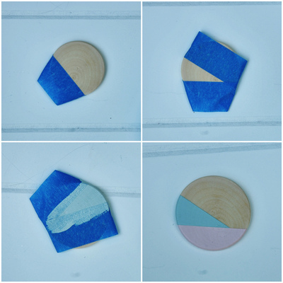 How to make a paper necklace. Geometric Paint + Glitter Pendants - Step 3