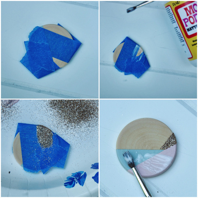 How to make a paper necklace. Geometric Paint + Glitter Pendants - Step 4