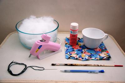 How to make a tea cup pin cushion. Hand Painted Teacup Pincushions - Step 1