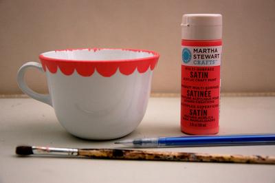 How to make a tea cup pin cushion. Hand Painted Teacup Pincushions - Step 2