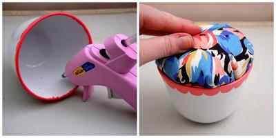 How to make a tea cup pin cushion. Hand Painted Teacup Pincushions - Step 6