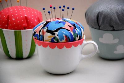 How to make a tea cup pin cushion. Hand Painted Teacup Pincushions - Step 7
