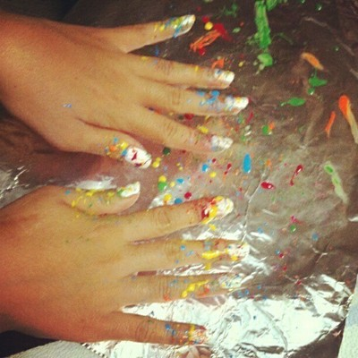 How to paint a splatter nail manicure. Splatter Paint Nails - Step 6