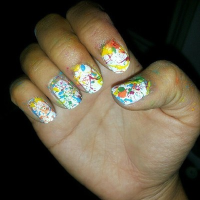 How to paint a splatter nail manicure. Splatter Paint Nails - Step 9