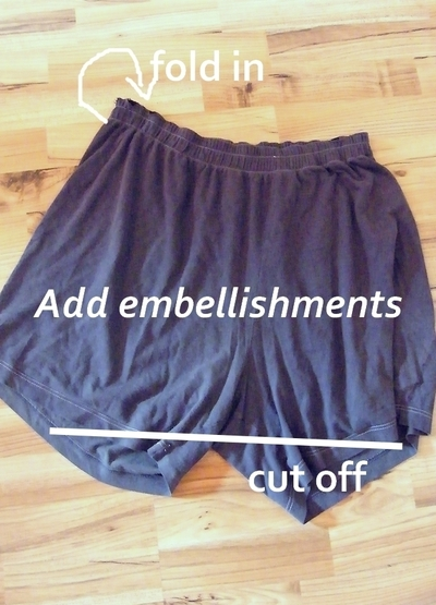 How to make a recycled top. Pyjama Shorts To Asymmetrical Top - Step 1