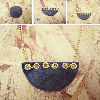 How to make a leather necklace. Semi Circle Leather Necklace - Step 2